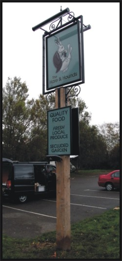 complete pub post signs on site sign writing by hand directly to walls ...